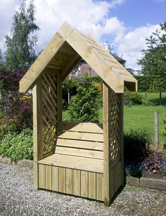 bespoke arbour with wooden roof