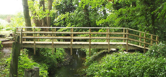 hand built wooden bridge