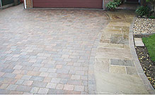 block paving driveway with integrated path